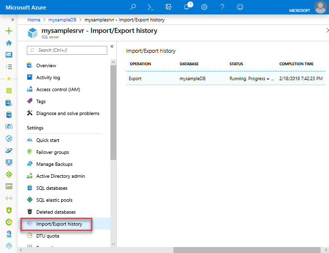 Export an azure sql database to a bacpac file microsoft docs export history export history status alramifo Image collections