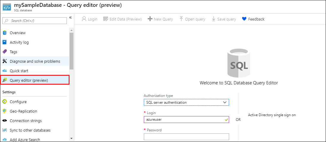 Azure portal create a sql database microsoft docs on the sql database page for your database click query editor preview in the left hand menu and then click login baditri Image collections