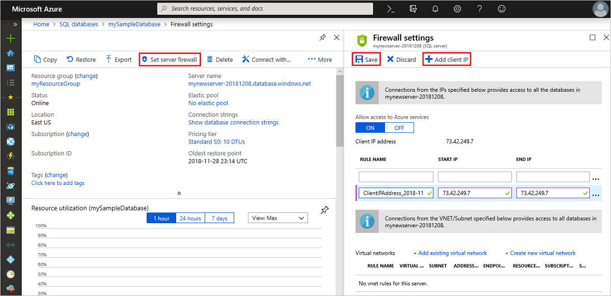 Azure SQL Database firewall rules