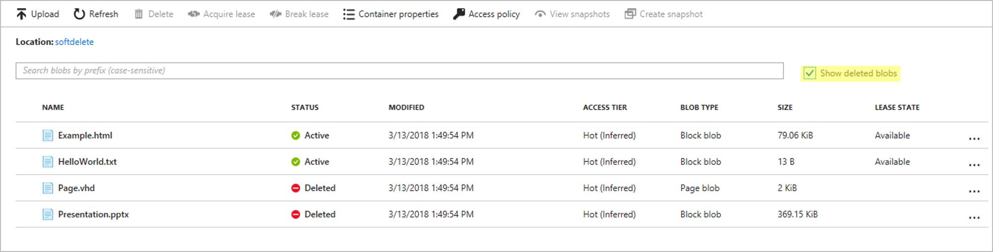 Soft delete for Azure Storage blobs | Microsoft Docs