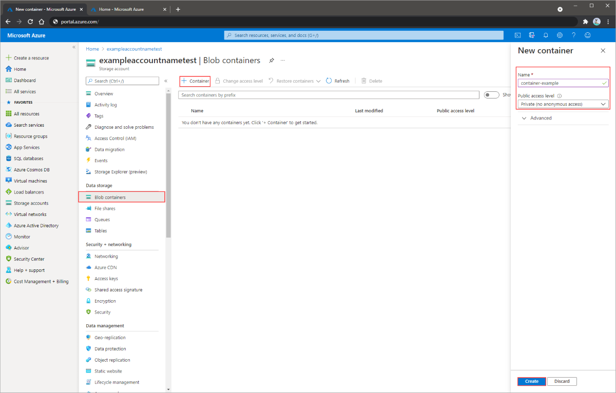 Azure Quickstart - Create a blob in object storage with the