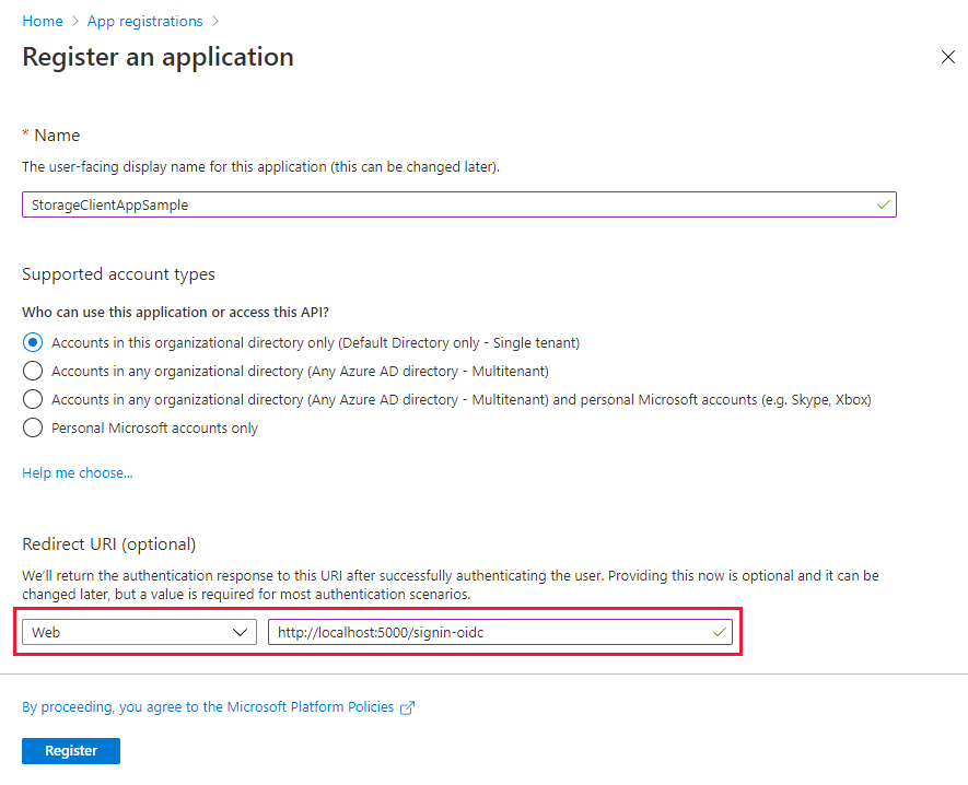 Screenshot showing how to register your storage application with Azure AD