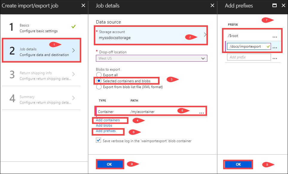 Using Azure Import/Export to export data from Azure Blobs