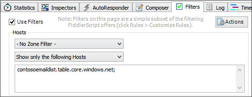 Screenshot that shows a filter that captures only traffic sent to the contosoemaildist.table.core.windows.net storage endpoint.
