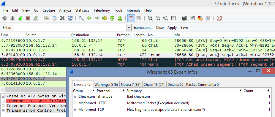 Screenshot that shows the Expert Info window where you can view a summary of errors and warnings.