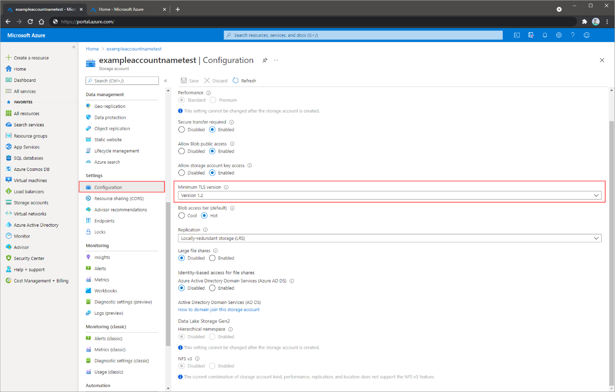 Screenshot showing how to configure minimum version of TLS in the Azure portal