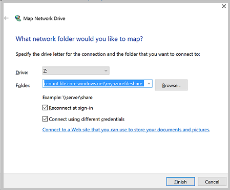 "A screenshot of the ""Map Network Drive"" dialog"