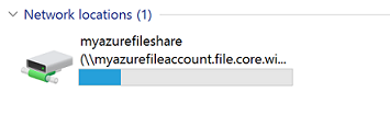 Azure file share is now mounted