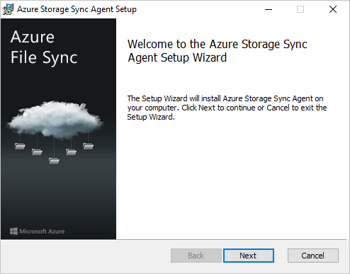 The first pane of the Azure File Sync agent installer