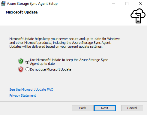 Ensure Microsoft Update is enabled in the Microsoft Update pane of the Azure File Sync agent installer