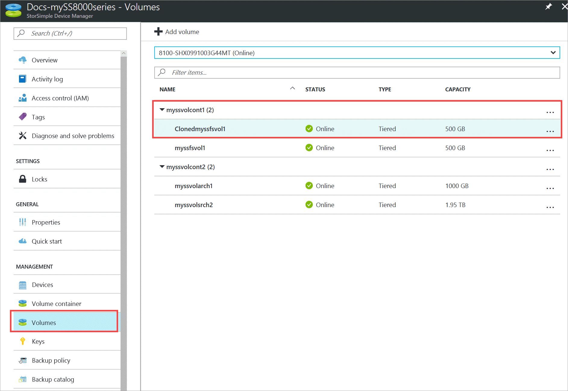 Clone a volume on StorSimple 8000 series | Microsoft Docs