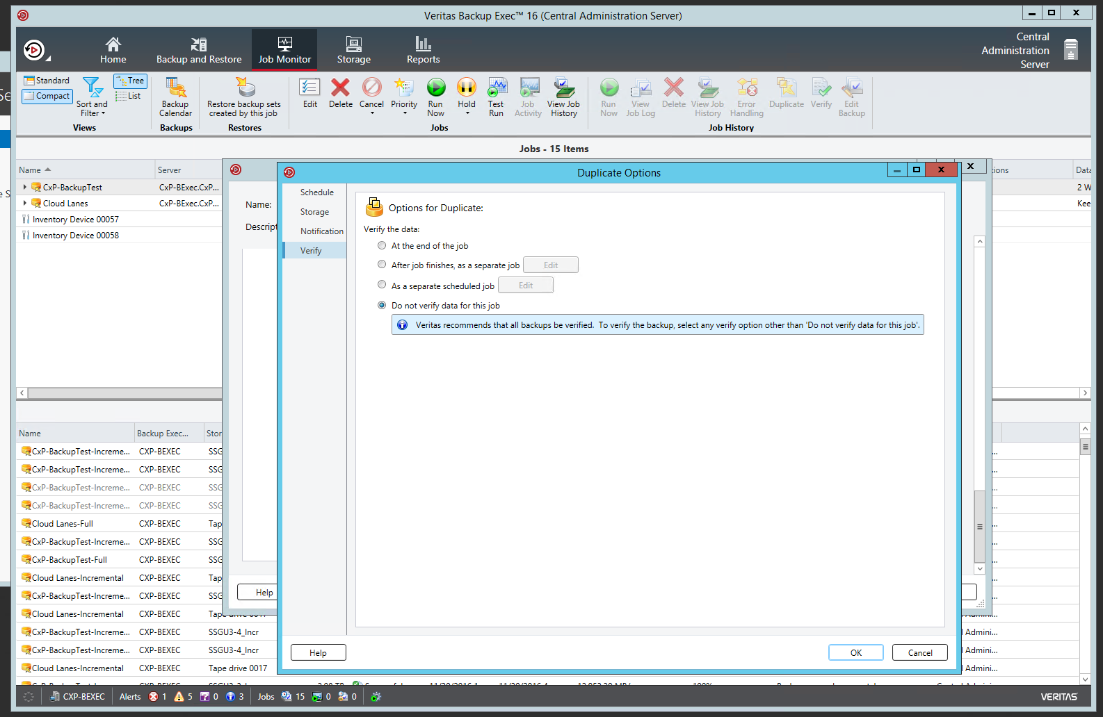 Configure backup exec 2010 + 2012 on vmware to backup to tape