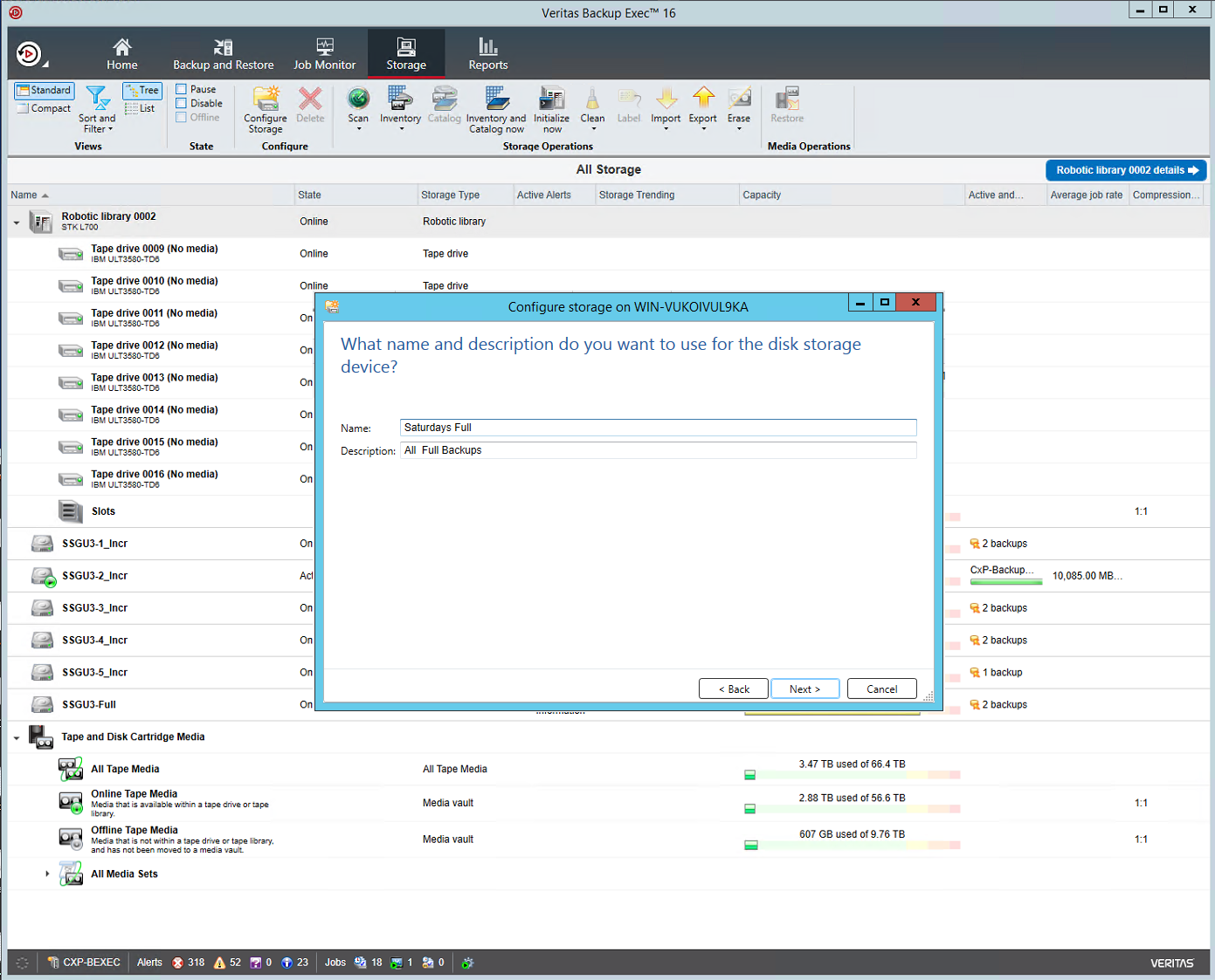 Fortunately, the veritas backup software works very well, and allows for a huge number of storage options