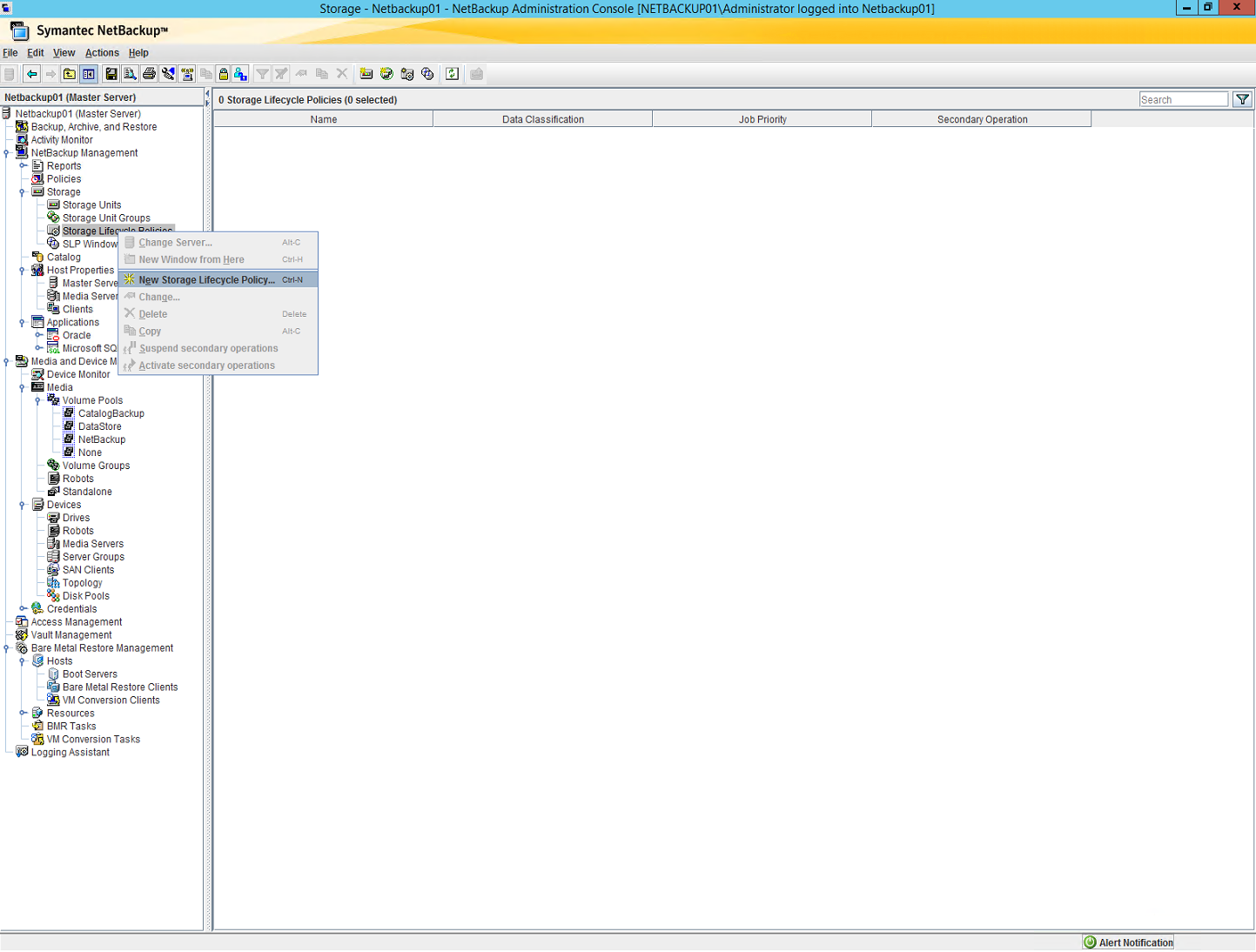 Netbackup Administration Console, New Storage Lifecycle Policy