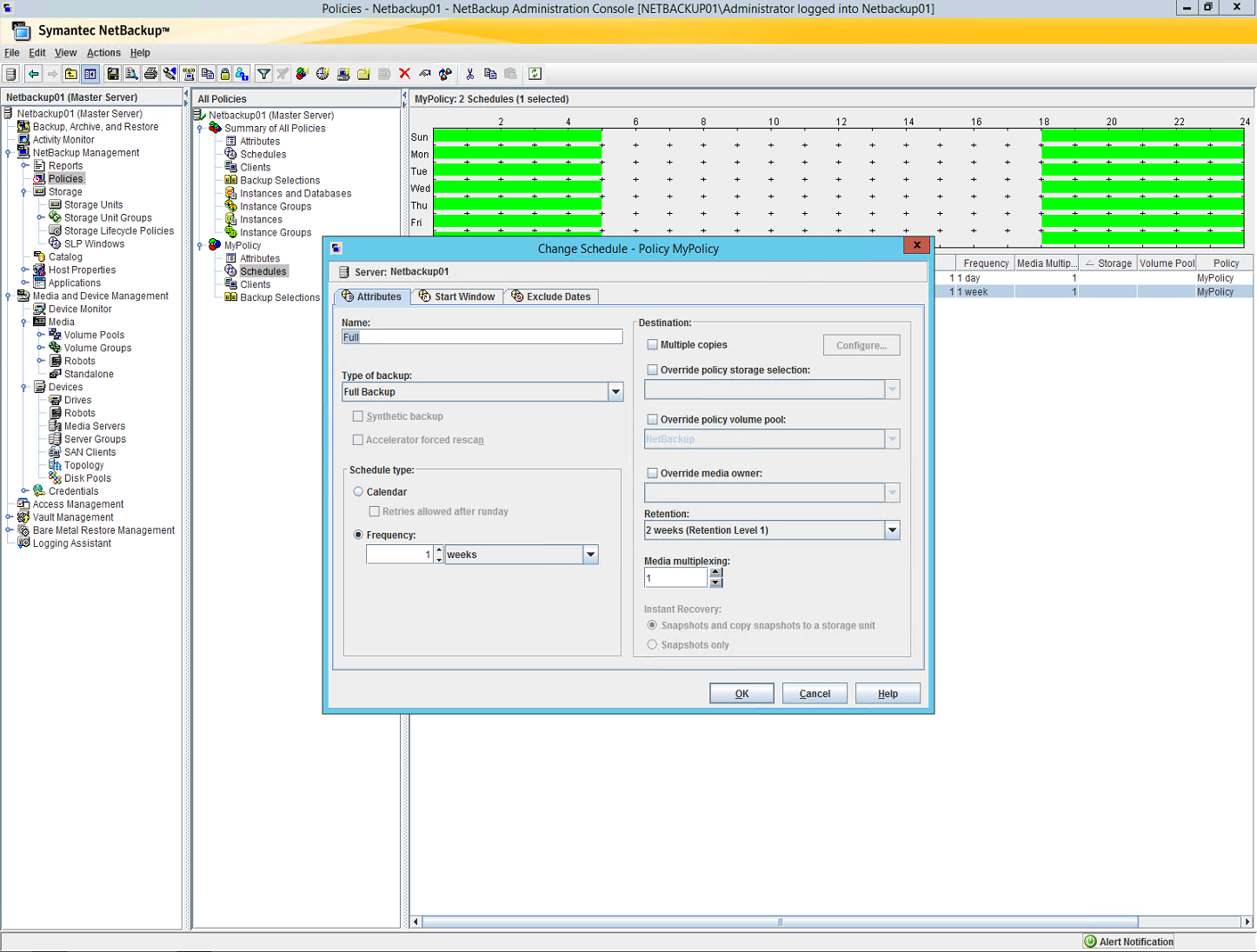 Netbackup Administration Console, Change Schedule Dialog Box