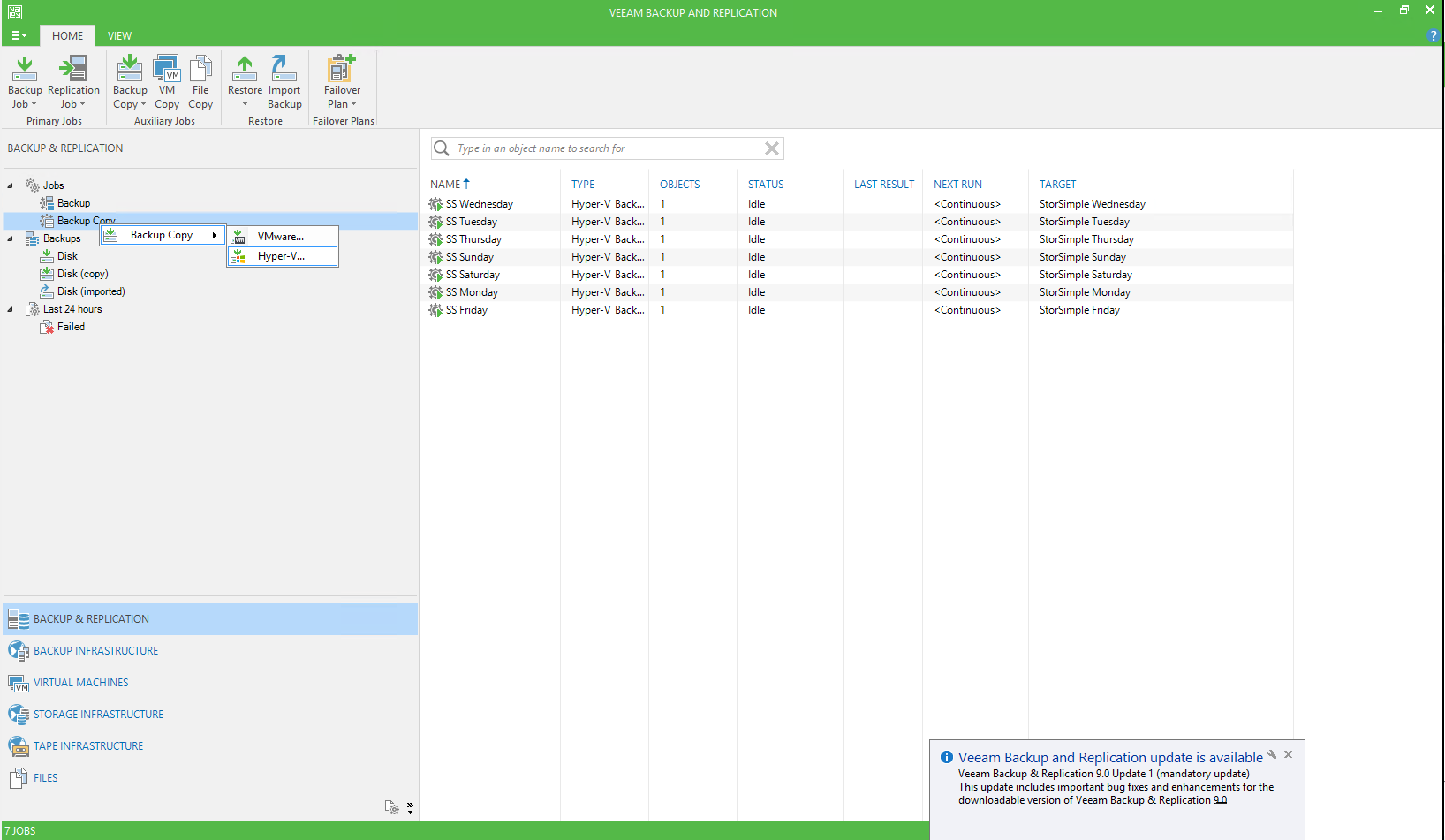 Veeam Management Console, New Backup Copy Job Page
