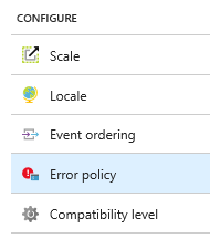 Azure Stream Analytics output error policy location