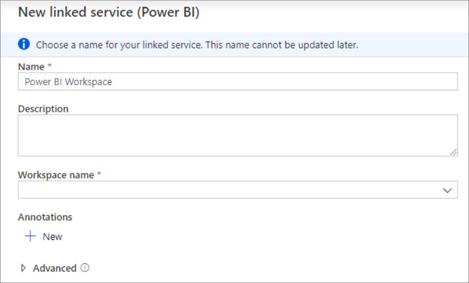 Displaying Power BI linked service setup.