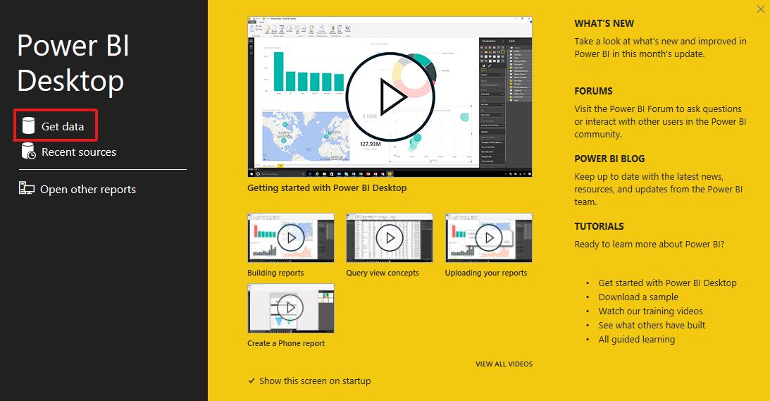 Open Power BI desktop application and select get data.