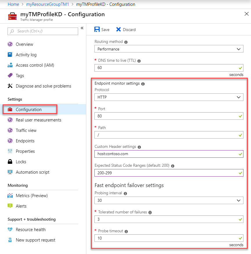 Azure Traffic Manager endpoint monitoring | Microsoft Docs