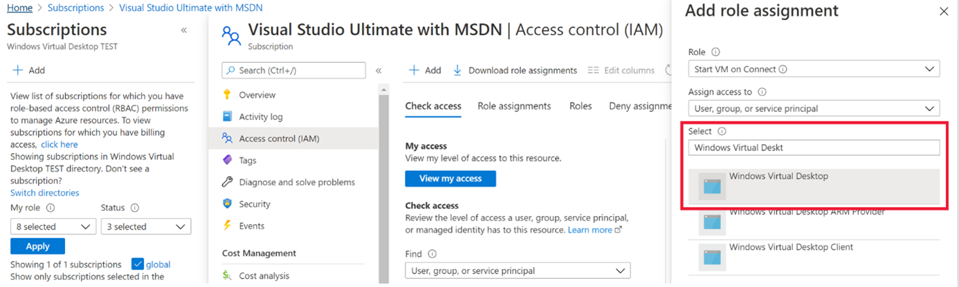 A screenshot of the Access control (IAM) tab. In the search bar, both Azure Virtual Desktop and Azure Virtual Desktop (classic) are highlighted in red.