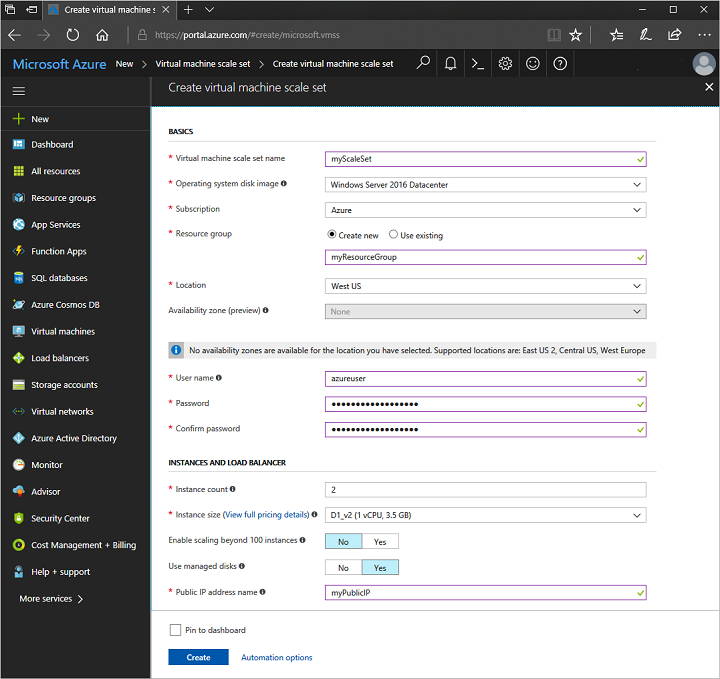 how to create a vm in azure