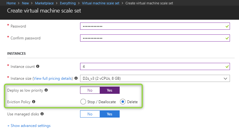 Create an Azure scale set that uses low-priority VMs