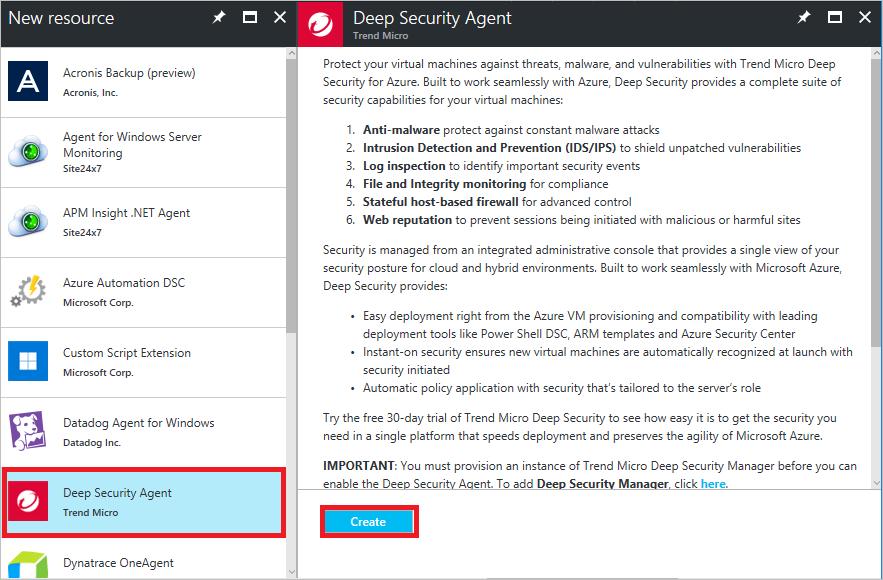 Install Trend Micro Deep Security on a VM | Microsoft Docs