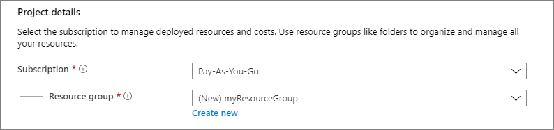 Screenshot of the Project details section showing where you select the Azure subscription and the resource group for the virtual machine