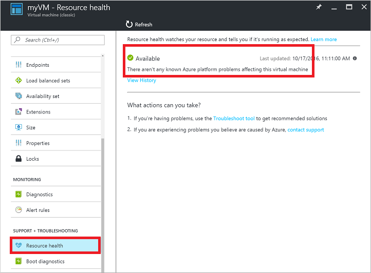 Check VM resource health in the Azure portal