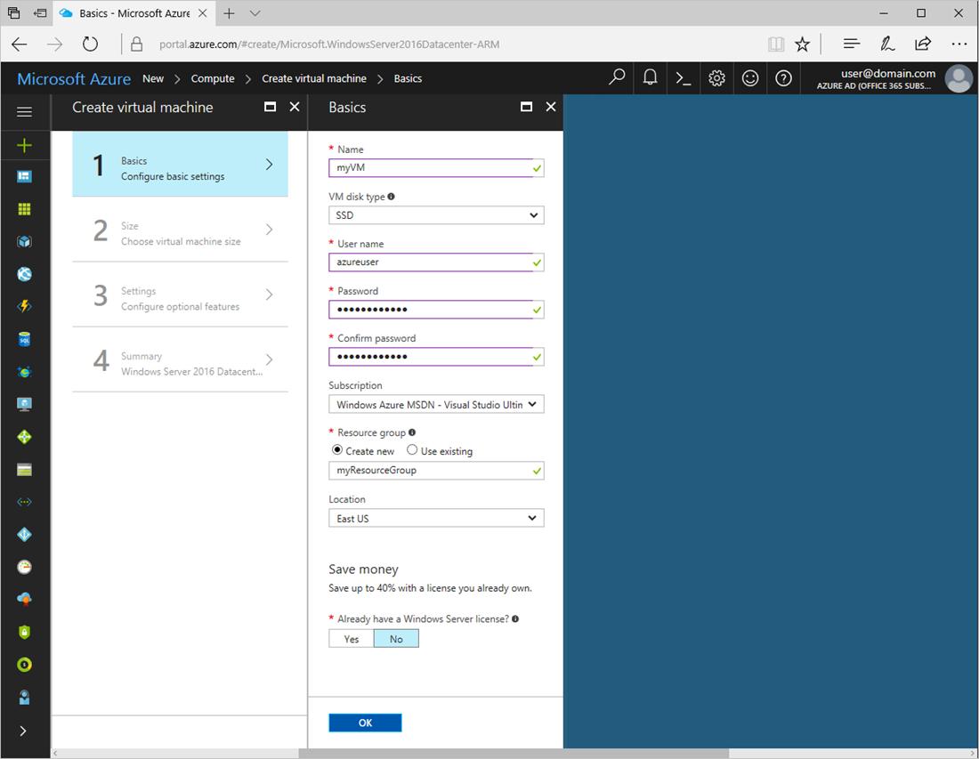 create windows vm portal basic blade - Create Windows Virtual Machine in Azure