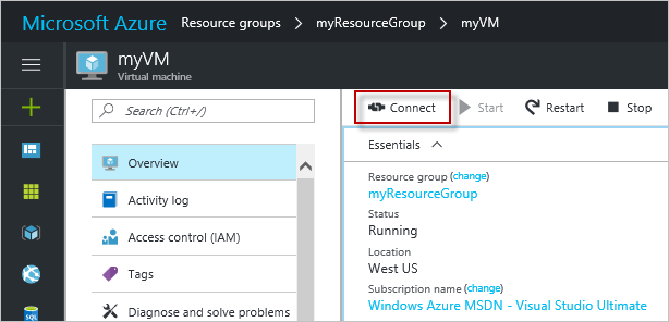 Connect to an Azure VM from the portal