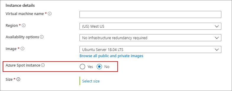 Screen capture for choosing no, don't use an Azure spot instance
