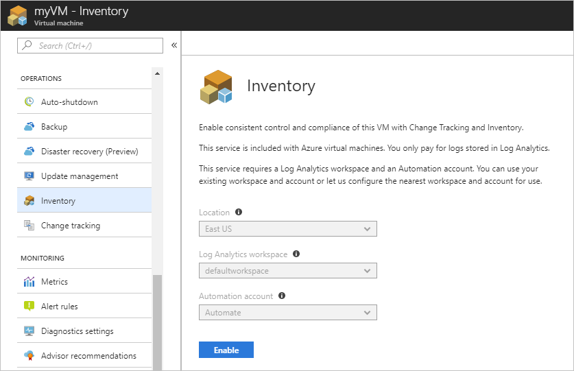 Enable Change and Inventory tracking