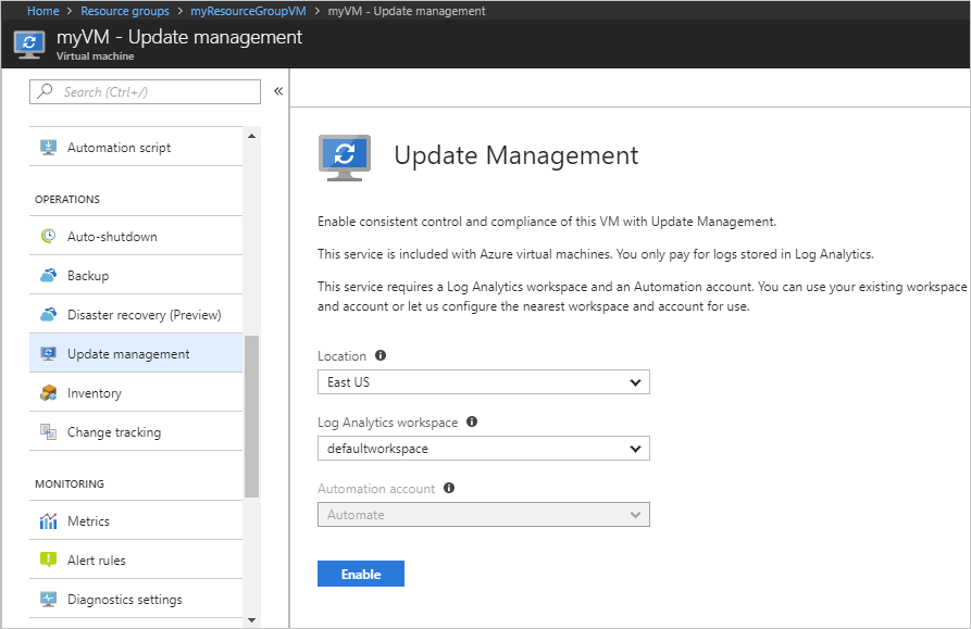 Enable Update management solution