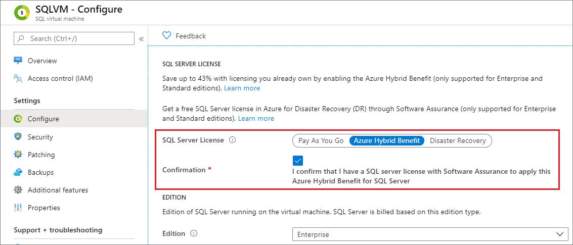 Change the license model for a SQL Server VM in Azure