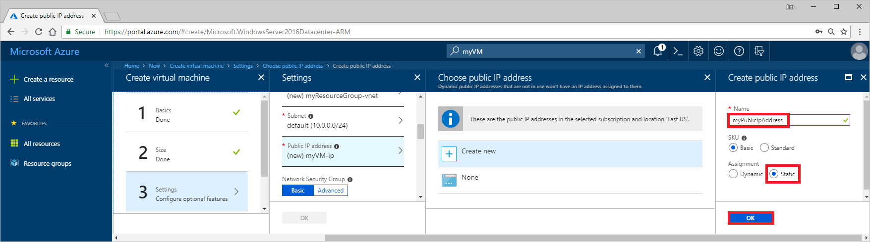 Create a VM with a static public IP address - Azure portal | Microsoft Docs