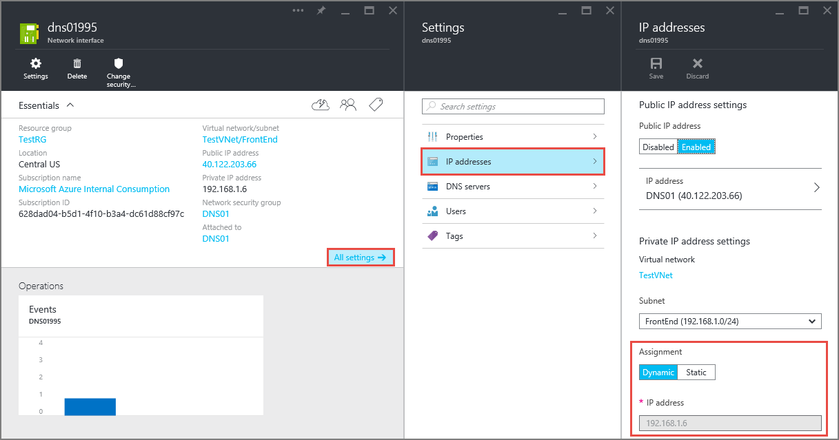 Configure private IP addresses for VMs - Azure portal