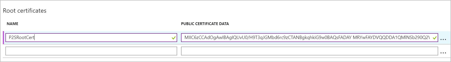 Paste certificate data