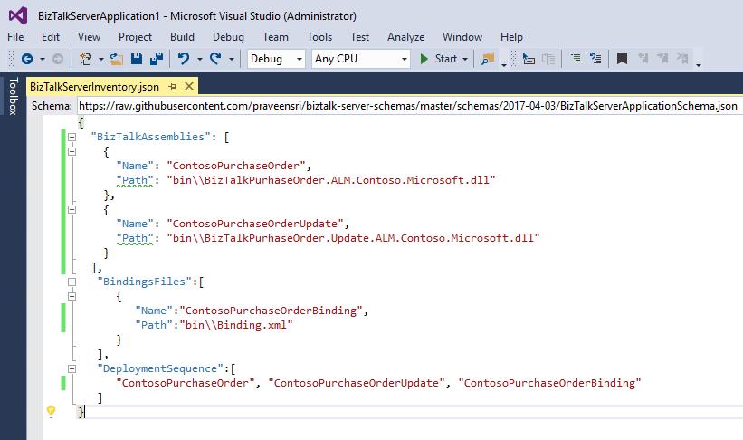Step 1 - Add Application project and update json - BizTalk Server ...