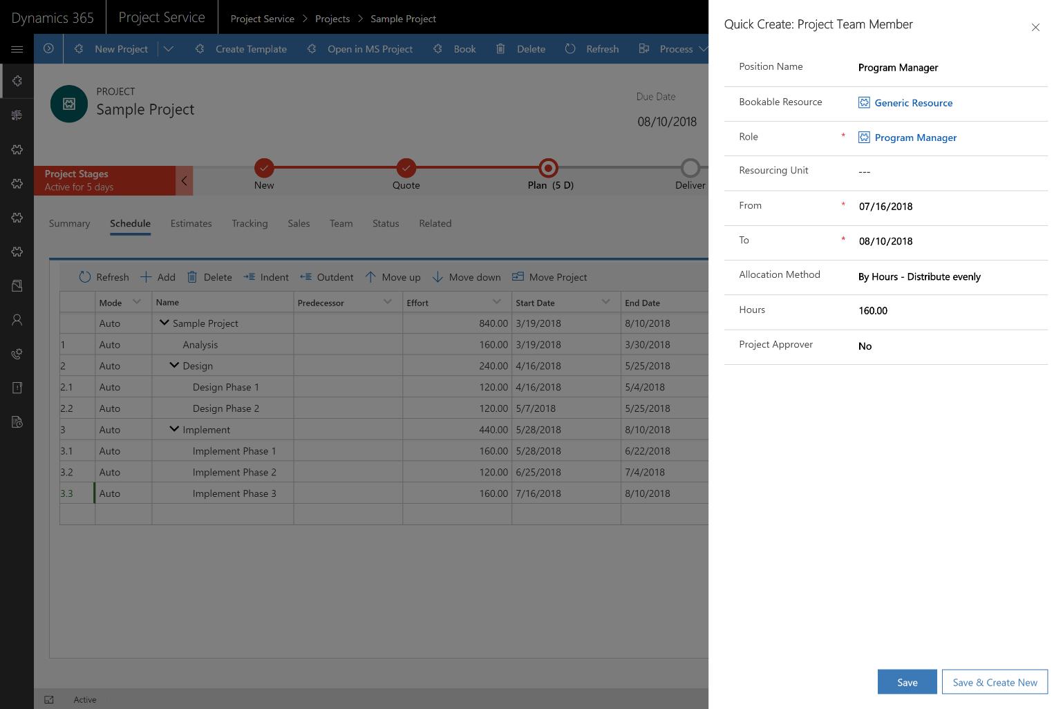 Work breakdown structure WBS editable grid with Gantt visualization