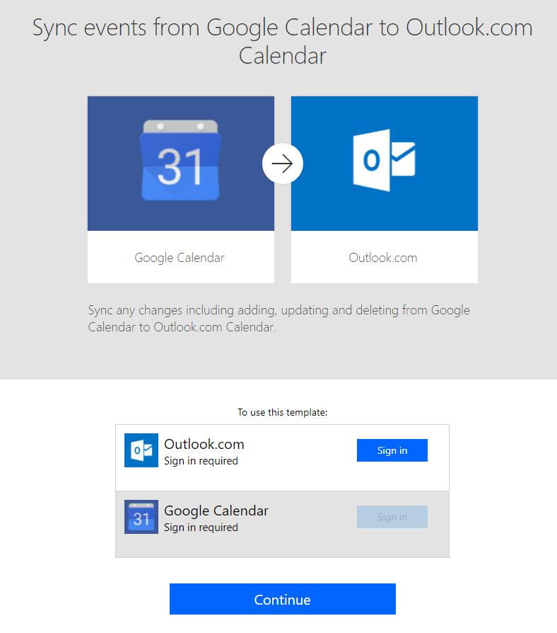 New calendar sync templates - Release Notes | Microsoft Docs