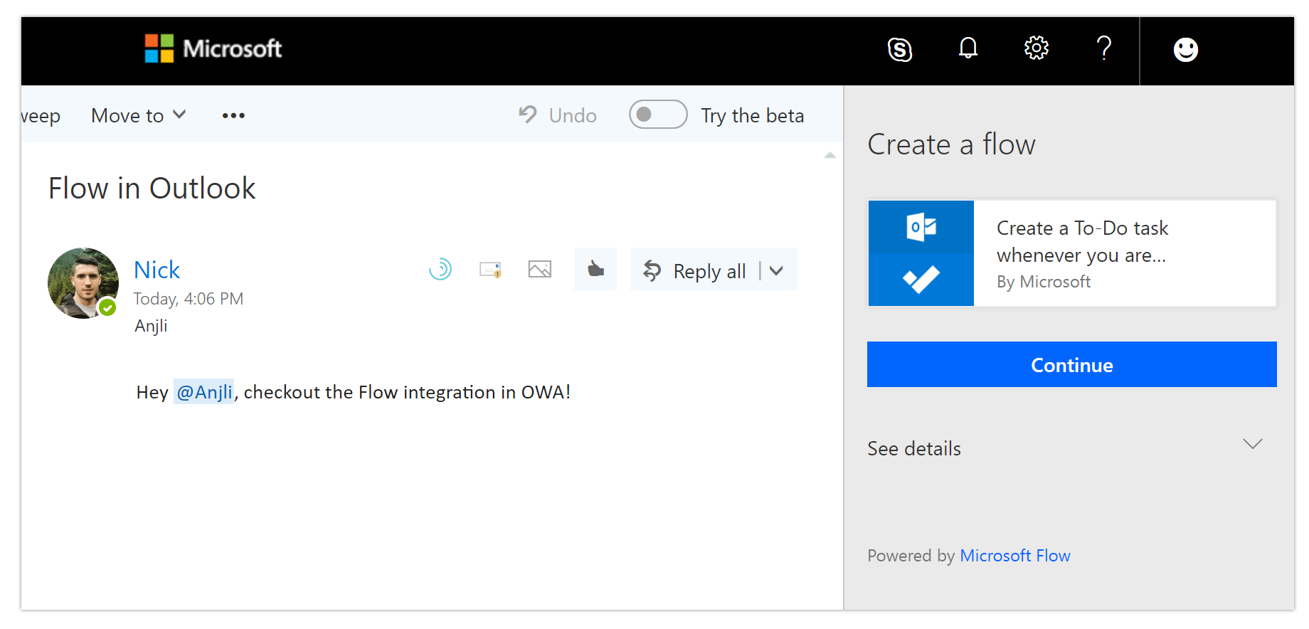 Create a flow for Microsoft To-Do in Outlook Web App - Release Notes