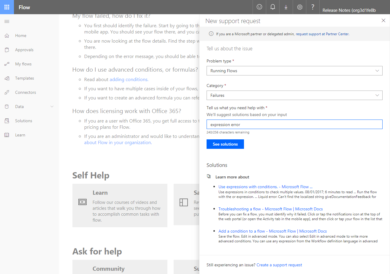 Integrated help and support experience in Microsoft Flow