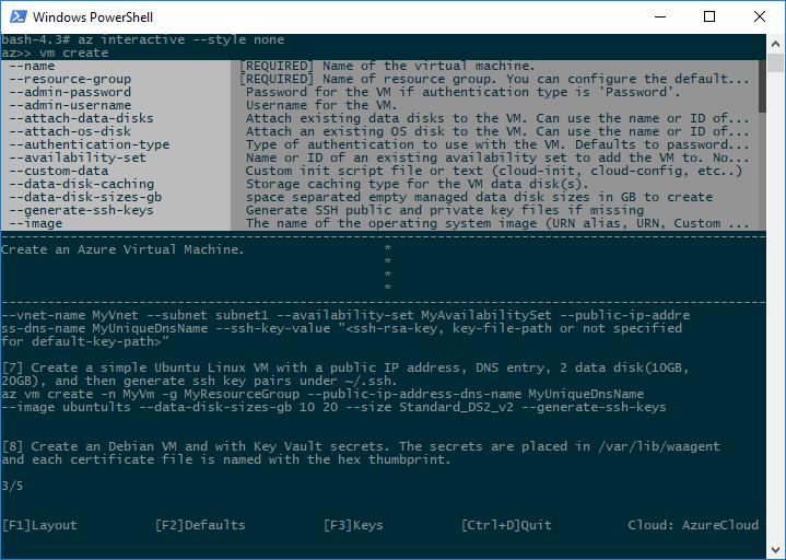 Azure CLI interactive mode | Microsoft Docs