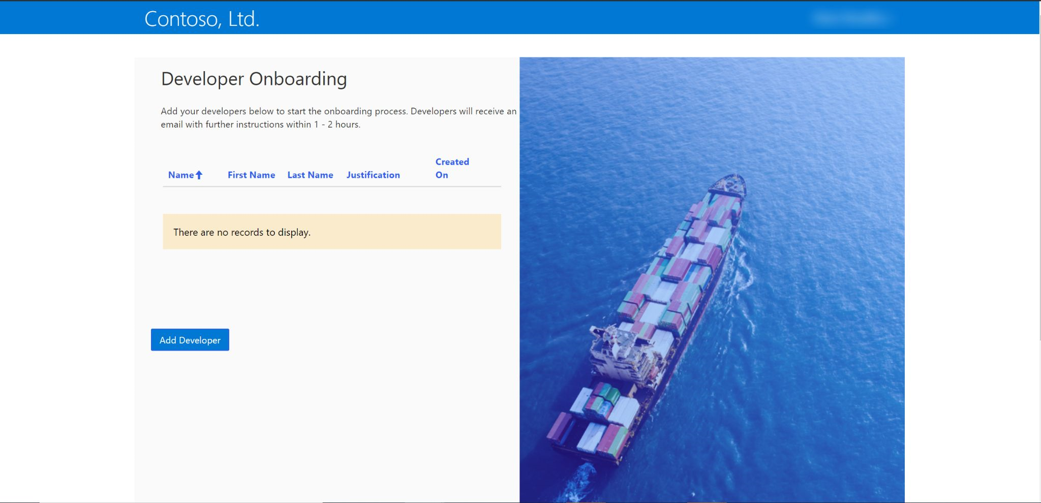 Developer onboarding screen