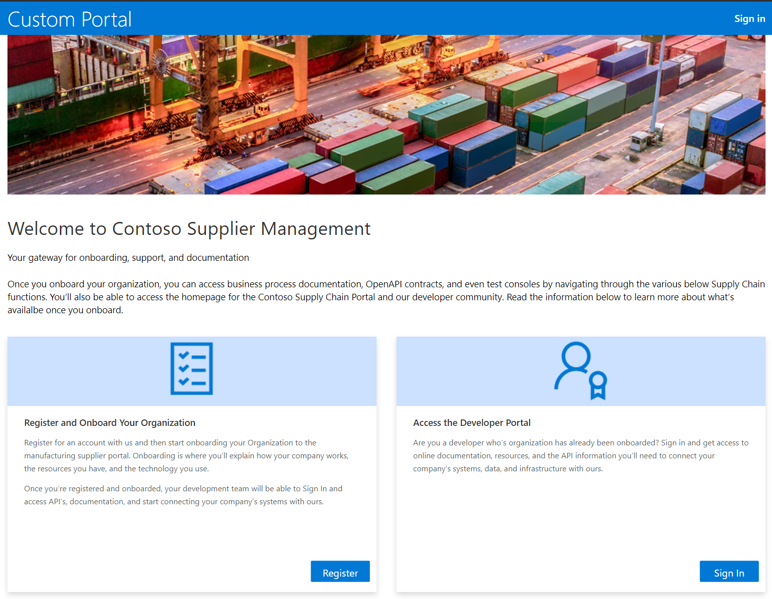 Supplier management screen