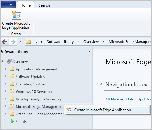Microsoft Edge Management node right-click action
