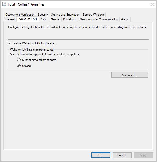 Configure Wake on LAN - Configuration Manager | Microsoft Docs