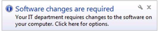 Toast notification que des modifications du logiciel sont nécessaires